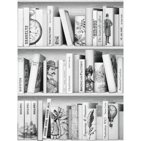 Papier peint trompe l'oeil bibliothèque noir blanc-UGEPA