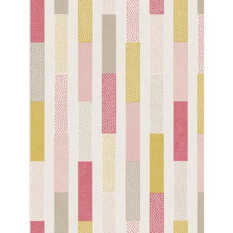 Papier peint à rayures Dot rose framboise/jaune- SWING - Caselio