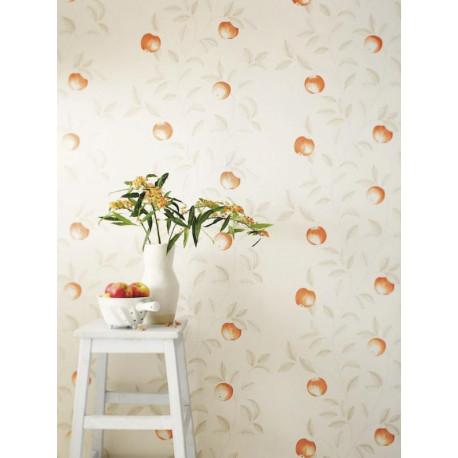 Papier peint Guirlande de Pommes orange - Bon Appétit - Caselio