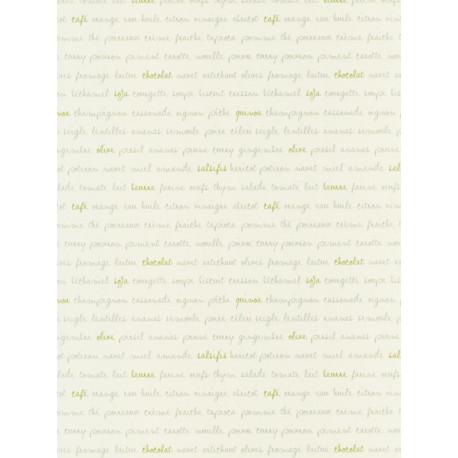 Papier peint Ingrédients blanc et vert - Bon Appétit - Caselio