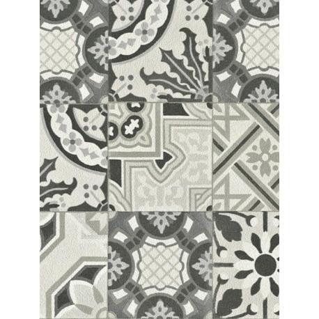Papier peint intissé Carreaux de ciment gris - CRISPY PAPER Rasch