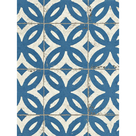 Papier peint intissé Carrelage ancien bleu - CRISPY PAPER - Rasch - 524703