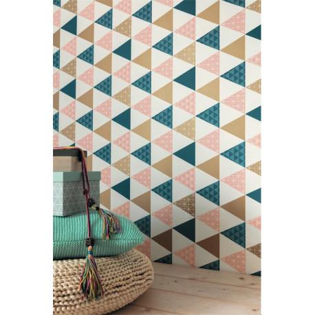 Papier peint Triangle rose et bleu - TONIC - Caselio - TONI69444109