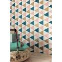 Papier peint intissé Triangles à motif cuivre/rose/bleu - TONIC Caselio