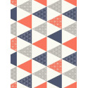 Papier peint Triangle bleu et corail - TONIC - Caselio - TONI69443813