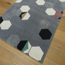 Tapis motif Hexagones fond gris foncé - 120x170cm - Canvas
