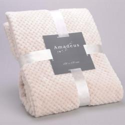 Plaid relief damier uni blanc crème - 130x170cm - Amadeus