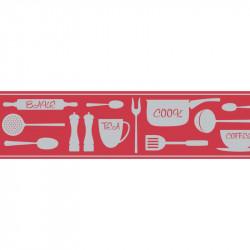 Frise adhésive Cook ustensiles de cuisine - rouge - Lutèce