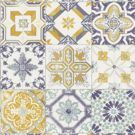 Papier peint carreaux de ciment jaune et bleu pastel - Material - Caselio