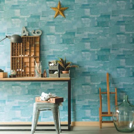 Papier peint effet béton turquoise - Material - Caselio