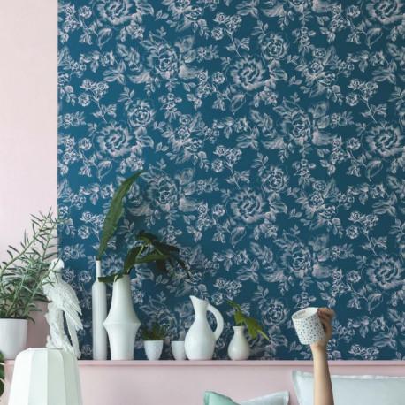 Papier peint A Fleurs De Peau bleu et rose - SMILE - Caselio - SMIL69849832