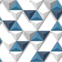 Papier peint vinyle Triangles bleus relief - Hexagone - UGEPA