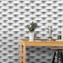 Papier peint Rockstone trompe l'œil effet 3D briques blanc gris - UGEPA
