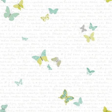 Papier peint pour enfant Papillons, vert, PRETTY LILI, CASELIO
