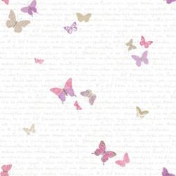 Papier peint pour enfant Papillons, rose et violet, PRETTY LILI, CASELIO