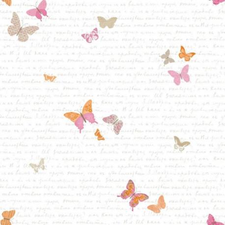 Papier peint pour enfant Papillons, rose et orange, PRETTY LILI, CASELIO