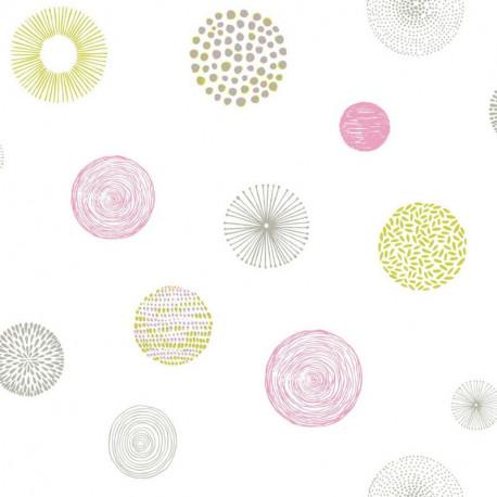 Papier peint Rond Graph rose et vert - PRETTY LILI - Caselio - PRLI69244077