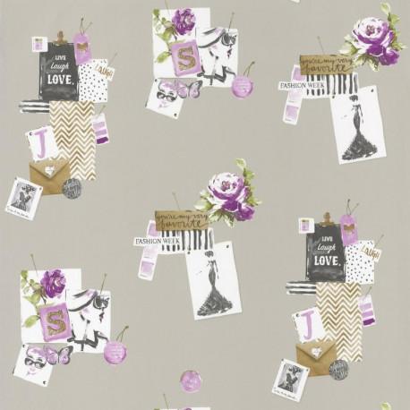 Papier peint pour enfant Madame, violet PRETTY LILI, CASELIO