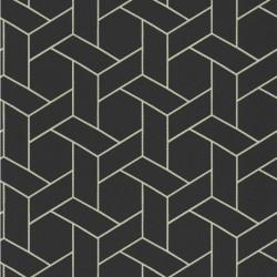 Papier peint Focale noir, touche dorée - HELSINKI - Casadeco