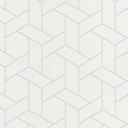 Papier peint Focale blanc, touche argentée - HELSINKI - Casadeco
