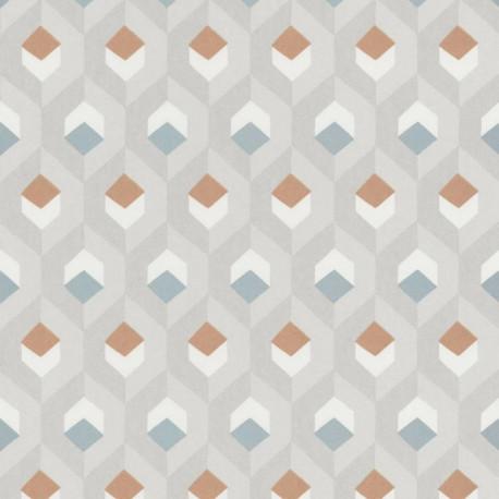Papier peint Hexacube  taupe, bleu et terracotta - HELSINKI - Casadeco - HELS82051120