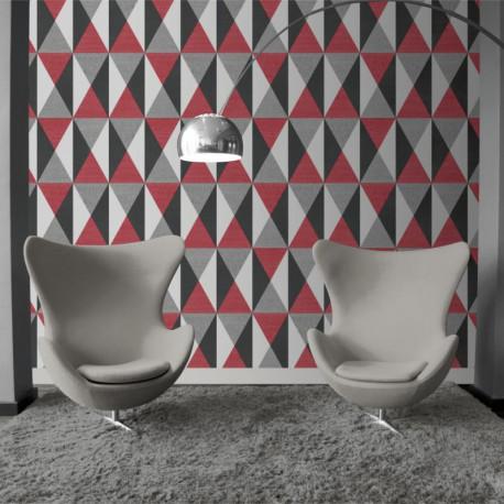 Papier peint Triangles rouge et gris - GRAPHIQUE - Ugepa - J679-10/GRA19009