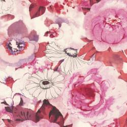 Papier peint fleuri, rose - Lucy in the sky - Rasch