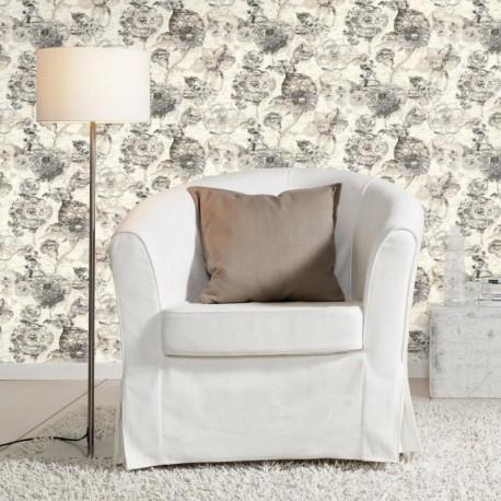 Papier peint Fleur Vintage gris - LUCY IN THE SKY - Rasch - 803709