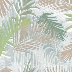 Papier peint JUNGLE GLAM palmiers blanc, or et vert - Graham & Brown