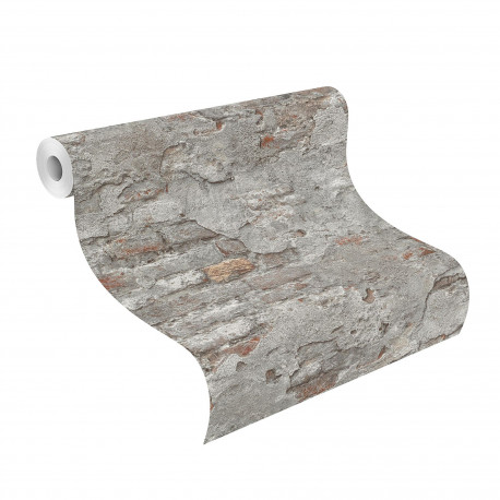 Papier peint mur de brique marron - Factory III - Rasch