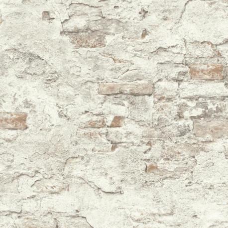 Papier peint mur de brique gris - Factory III - Rasch