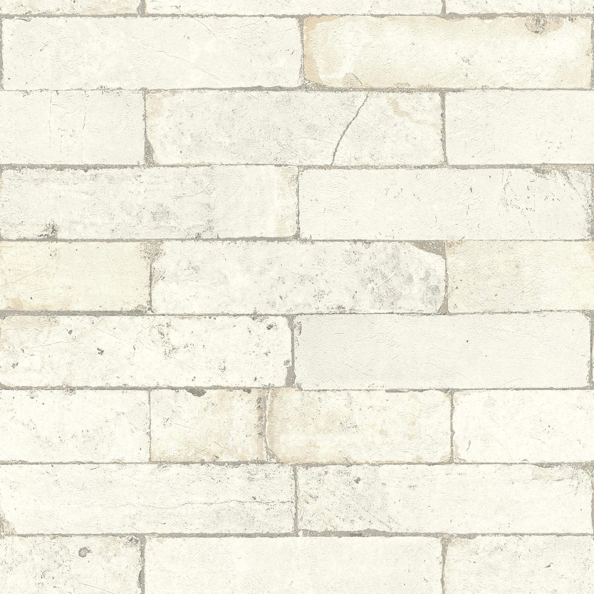 Mur Effet Brique Blanche papier peint imitation brique, blanc, collection factory iii