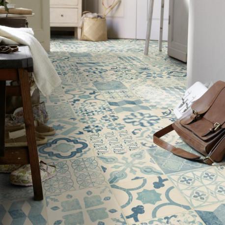 Revêtement PVC - Largeur 4m - Exclusive 240 HAPPY SHAPES - effet carrelage retro Almeria Bleu - Tarkett