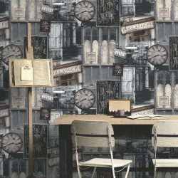 Papier peint boutique vintage vinyle grainé sur intissé gris - VOYAGE - UGEPA