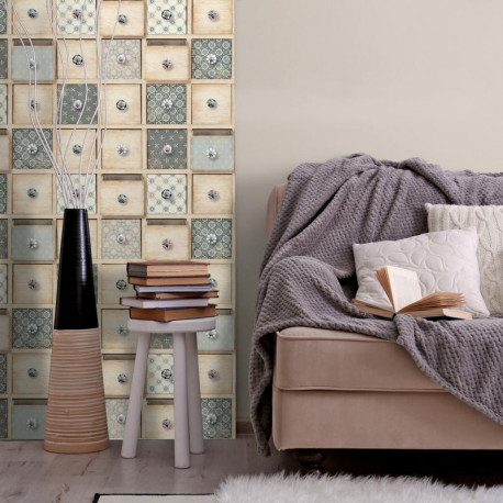 Papier peint tiroirs beige pastel vinyle grainé sur intissé - VOYAGE - UGEPA