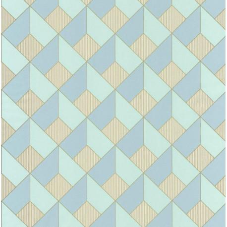 Papier peint Square Losange Bleu/Vert – SPACES – Caselio