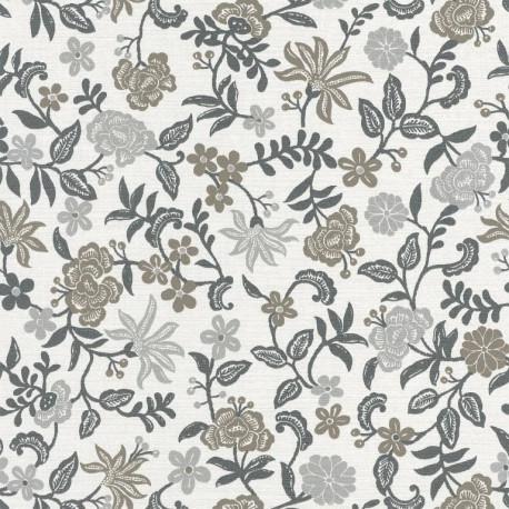 Papier peint Bohemia floral gris et taupe sur fond blanc – Acapulco - Caselio
