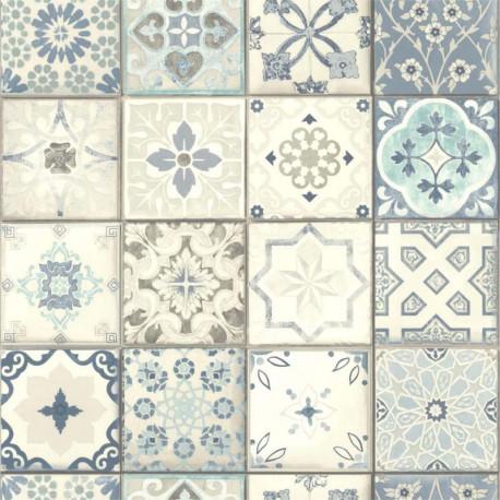 Papier peint Carreaux de ciment bleus et gris - Lutèce - 51158801