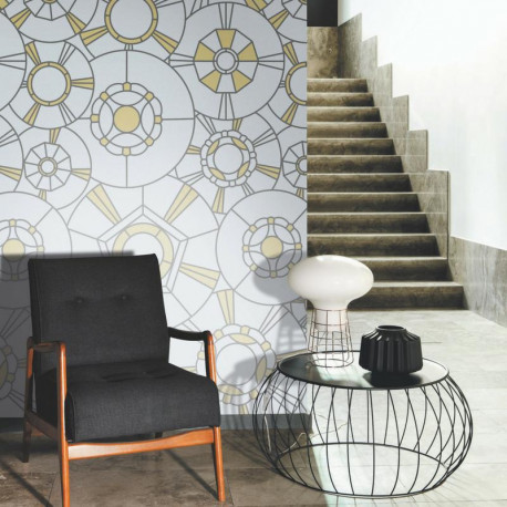 Panoramique vitraux GRAND CAFE noir et or - Belle Epoque Casadeco