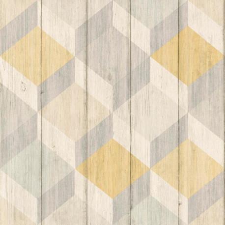 Papier peint à motif Cubes bois jaune et gris - Collection INSPIRATION WALL - GRANDECO
