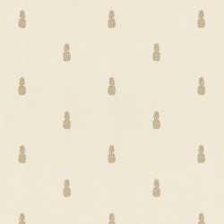 Papier peint intissé Ananas blanc et doré - Rasch