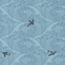 Papier peint vagues SUSHI bleu clair, gold - HANAMI - Caselio
