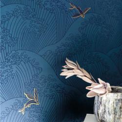 Papier peint vagues SUSHI bleu cobalt, gold - HANAMI - Caselio