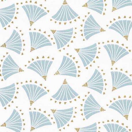 Papier peint éventails ORIGAMI bleu clair, gold - HANAMI - Caselio