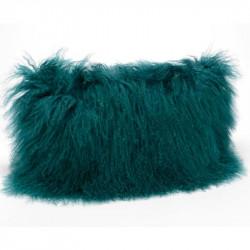 Coussin en poils d'agneau vert émeraude - 30x50cm - Amadeus