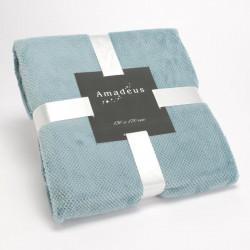 Plaid CALIN tout doux bleu canard - 130x170cm - Amadeus