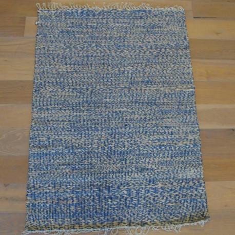 Tapis corde naturel et ruban bleu - VISTA- 120x170 - PAPILIO