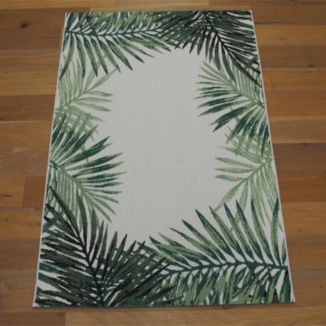 "Tapis tissé ""Tropical contour feuillage vert écru"" - Star BALTA 140x200"