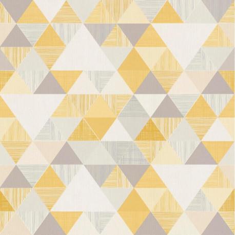Papier peint à motif Triangles jaune et gris - Collection INSPIRATION WALL - GRANDECO