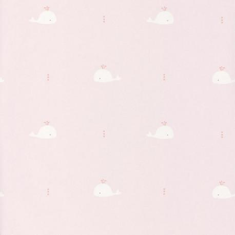 Papier peint intissé Baleines rose corail - HAPPY DREAMS Casadeco